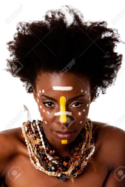 7784869-Beautiful-head-of-an-African-tribal-woman-with-Afro-curly-hair-face-paint-dots-stripes-bare-shoulder-Stock-Photo